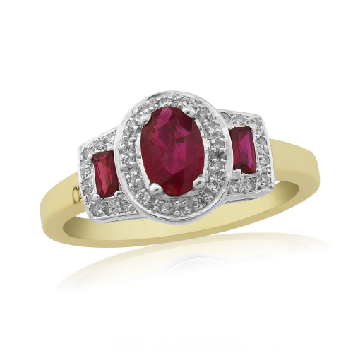 Yellow Gold Ruby And Diamond Fancy Three Stone Cluster Ring